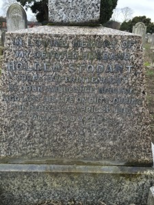 The inscription on Stodart's grave