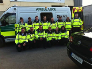 Members of SJAI Limerick on duty with one of their vehicles