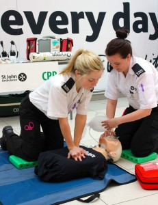St John Ambulance volunteers demonstrate CPR