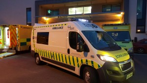 SJ-63 outside Cork University Hospital Emergency Dept, having transported her first patient on her first duty